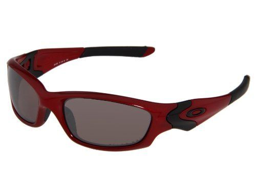 oakley red jacket xj5i  Oakley Men's Straight Jacket Polarized Sunglasses Metallic Red Frame/OO  Black Iridium Lens
