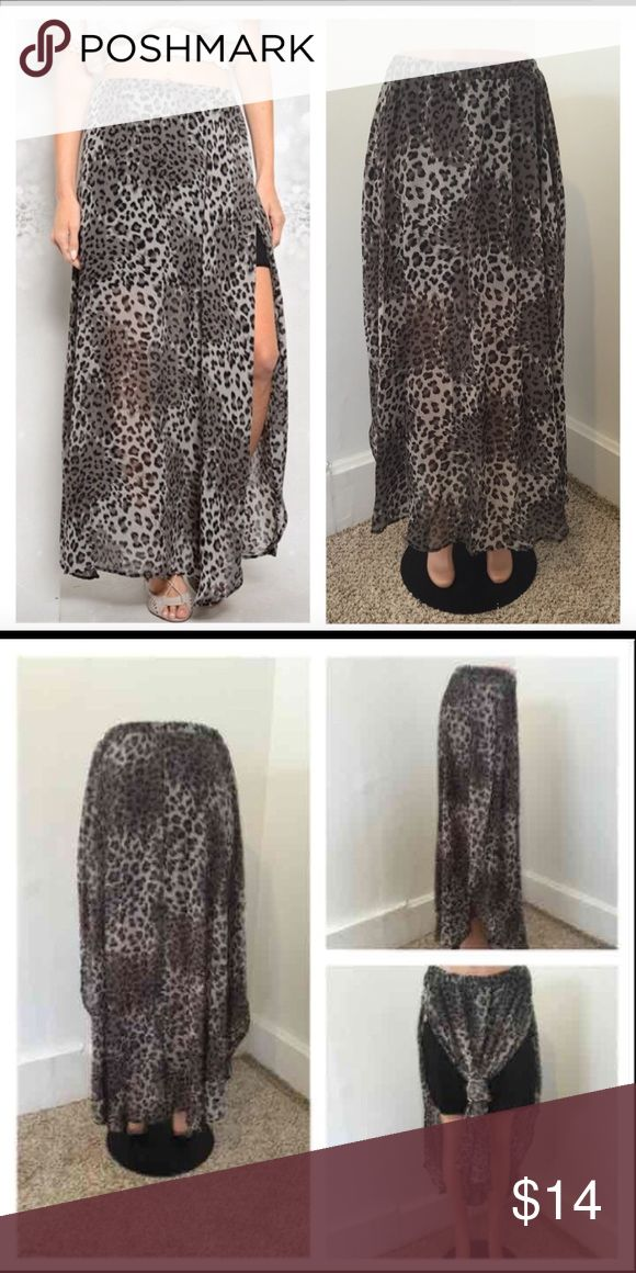 NEW small leopard maxi skirt ****PRICE FIRM NO TRADES****  Black and charcoal maxi skirt featuring two thigh high slits and leopard print.   Item is new in package.   ****PRICE FIRM NO TRADES**** ****PRICE FIRM NO TRADES**** ****PRICE FIRM NO TRADES**** Skirts Maxi