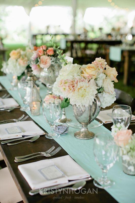 Cedarwood Weddings Nashville Wedding Venue Reception Center Pieces Mint And Blush More