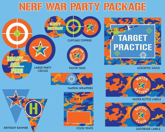 INSTANT DOWNLOAD  Nerf Birthday Party Package by DelightPaperie
