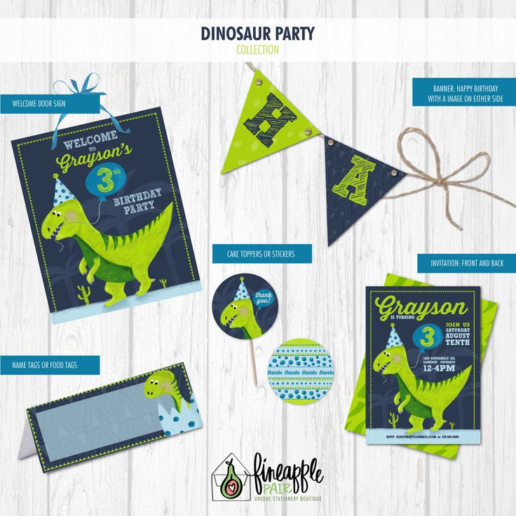 Dinosaur Invitation, Dinosaur Birthday Invite, Boy Birthday, Dinosaur Party, Dinosaur Balloons, Party Hat, lime green, navy, Dinosaur by FineapplePair on Etsy
