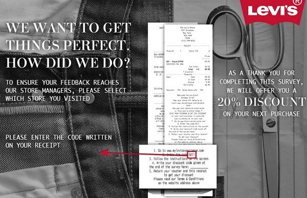 Get 20% off on Levi's shopping by sharing your feedback! #Survey #Sweepstakes