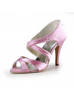 Crisscross Pink Satin High Heel Wedding Sandals - USD $78.99