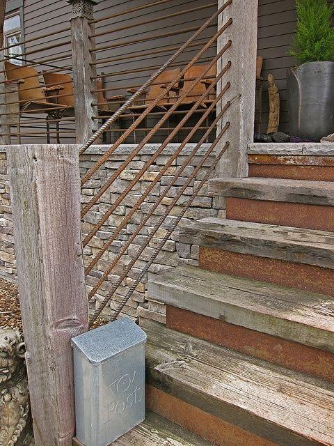 rebar/ Using it as a hand rail/ fence