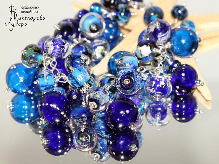 "Браслет ""Небо Сетонии"",Авторский лэмпворк Веры Викторовой, Серебро. bracelet ""Seton sky"" , glass beads handmade by Vera Viktorova, sterling silver."