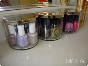 Omgosh! Now I feel guilty for throwing so many of these away! :( Candle Jars as Nail Polish Display