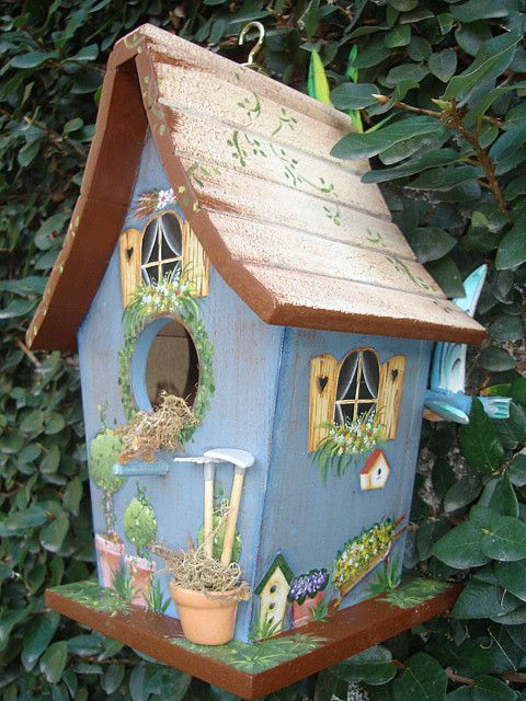 Painted windows are a nice touch to this bird house