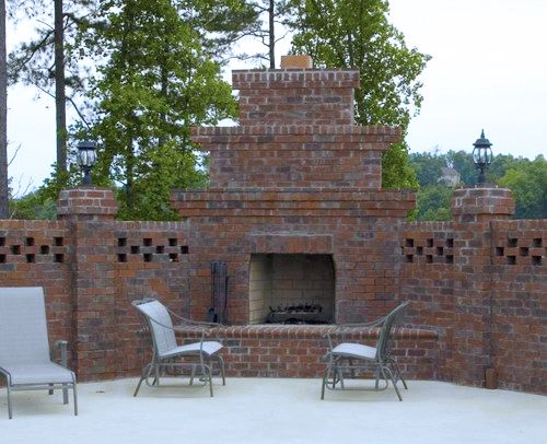 Outdoor Fireplace Made Of Old Yorktown Oversized Tumbled With Red Mortar Pine Hall Brick