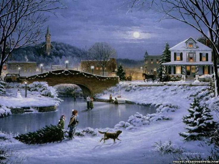 Christmas Scene Screensaver Wallpaper: Winter Snow Night Christmas 26817 Hd Wallpapers Background