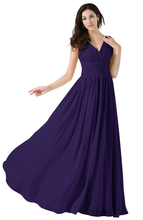 1e92b09acad Elegant V-neck Sleeveless Zip up Floor Length Ruching Bridesmaid Dresses