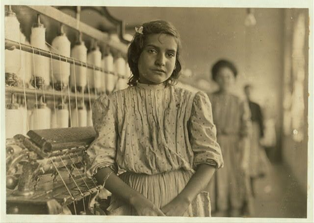 Dec 1908 - A typical spinner. Mamie --Lancaster Cotton Mills, S.C.  Location: Lancaster, South Carolina. Photo by Lewis Hines