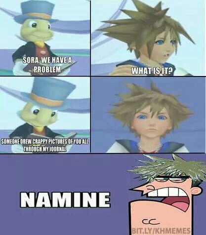 Namine...! I don't know what is so funny about it, but I busted out laughing  Weird since Namine is my Fav Character from KH Roxas x Namine FTW # OTP