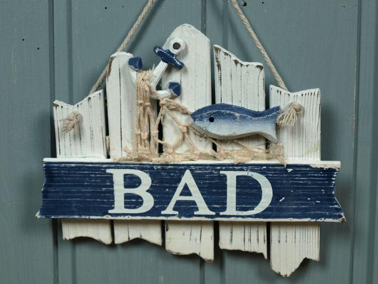 """Türschild Schild """"Bad"""" aus Holz mit Fisch ca. 17x14cm maritime Bad Deko"""