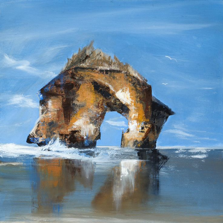 """This small acrylic painting is about a place called """"London Arc"""" which is part of the Twelve Apostles Australia. This painting is available for sale as an original and prints soon to be available.. Please visit my facebook page at www.facebook.com/escalanteart.com.au or website at www.escalanteart.com.au"""