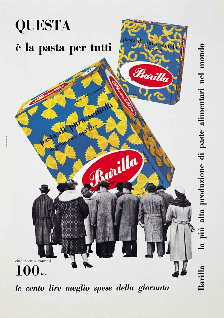 """This 1959 poster recognizes the brand's expanded global role, calling Barilla pasta """"the pasta for everyone."""""""