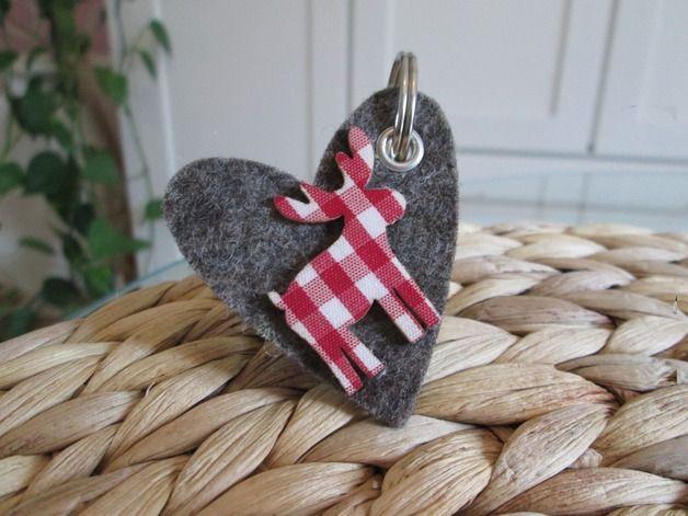 Schlüsselanhänger Designfilz Herz - Elch / felt keychains heart and moose