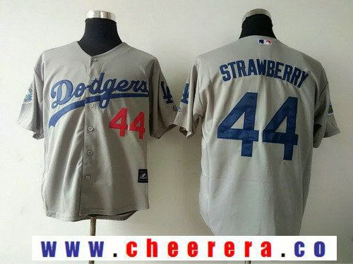 Men's Los Angeles Dodgers #44 Darryl Strawberry Retired Gray Cooperstown Collection Stitched MLB Majestic Jersey