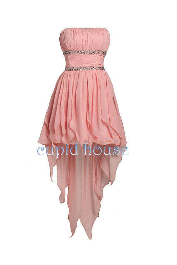 High Low Prom Dress Blush Bridesmaid Dress Coral by CupidHouse, $79.00