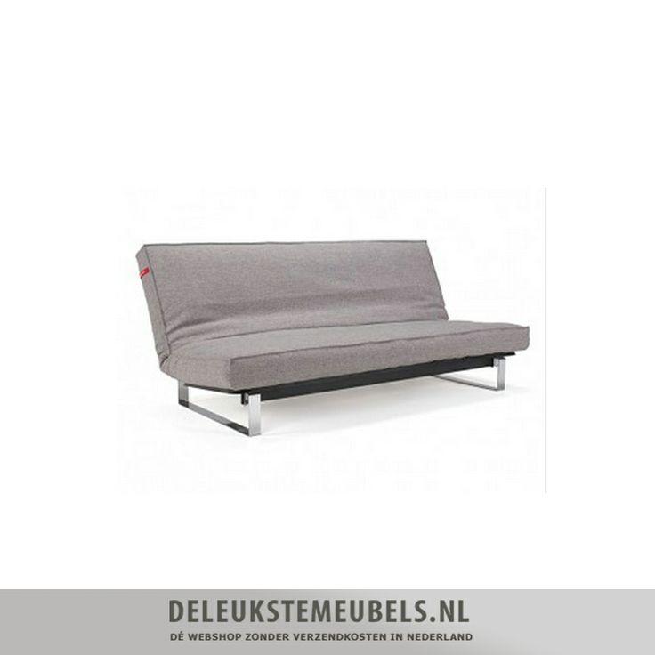 """Deze slaapbank Minimum spring van het merk Innovation uit de One room living collection is ontworpen door """"Per Weiss"""" en """"Peter Henriksen"""".  De maten van het bed zijn 140x200cm. De zithoogte is 37cm. De rugleuning is eenvoudig in 3 standen te stellen; rechtop, relax en plat als bed. Het minimum sofa bed is uitgevoerd met een spring pocketvering matras, voor  optimaal zit- en ligcomfort. http://www.deleukstemeubels.nl/nl/minimum-spring-521-grey-mixed-dance/g6/p1634/"""