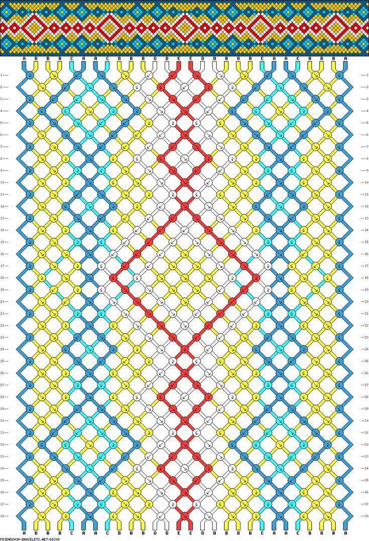 Friendship bracelet pattern 68308 -   28 strings, 5 colours
