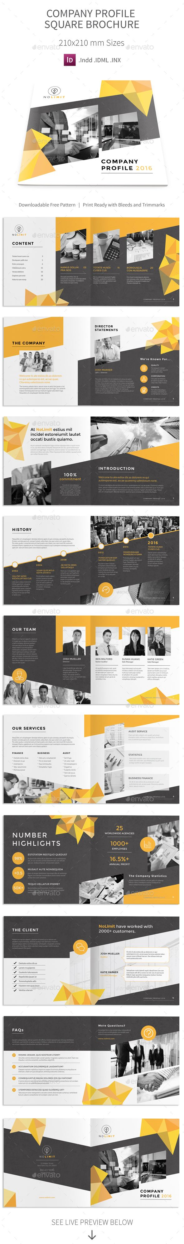 Company Profile Square Brochure 2016 Template 	InDesign INDD. Download here: http://graphicriver.net/item/company-profile-square-brochure-2016/16481145?ref=ksioks