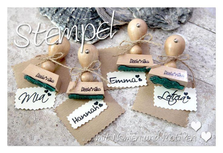 Weiteres - Stempel Kinder Name ** 2 x Herz ** - ein Designerstück von littlenika bei DaWanda