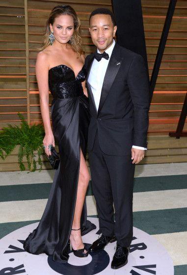 Chrissy Teigen and John Legend at the Vanity Fair Oscar gala