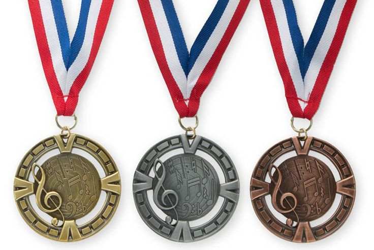 """3-D MUSIC MEDALLION - 2.75"""" medallion with 30"""" neck ribbon. Available in Gold, Silver Bronze."""