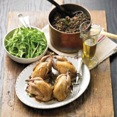 Whole Roasted Quail with Lentils
