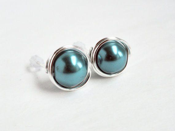 Teal stud earrings  silver wire studs  teal by handmadeintoronto