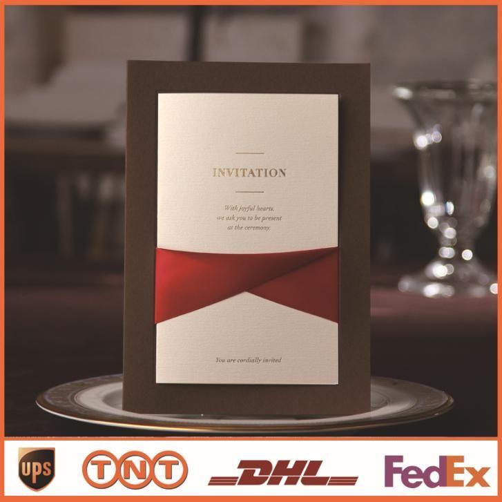 Свадебные Приглашения Карты С Красной Лентой Коричневого Брак Карты Обручальное Невеста Душ Свадебные Сувениры CW2041