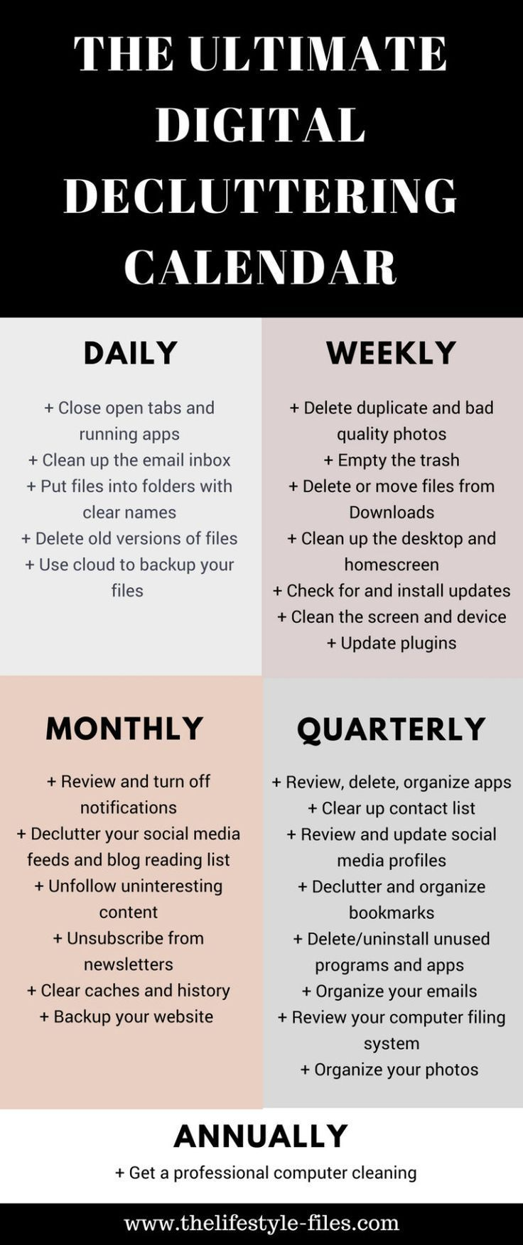 Would you like to clean up your phone computer and digital life? Use this digital decluttering calendar to get organized /// decluttering / organizing / simple living / productivity / digital decluttering tips / organize your life / organize your computer