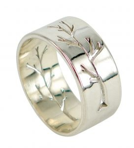 Pierced Tree small parallel ring in sterling silver  $230