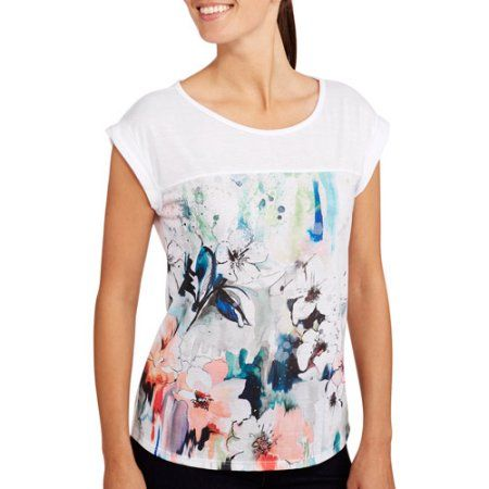 Project Karma Women's Floral Boxy T-Shirt, Size: Small, White