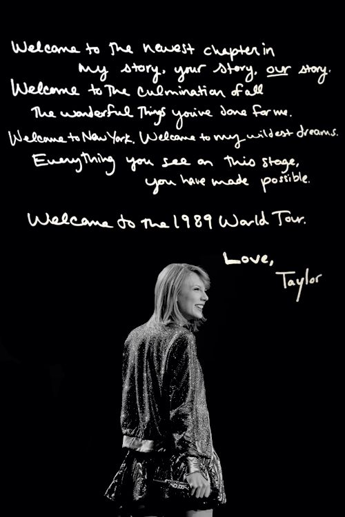 Welcome to the 1989 world tour......oh just love her!! Can't wait for Brisbane