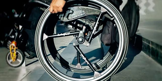 """Oh, look, somebody re-invented the wheel.  """"An Ingenious Shock-Absorbing Wheel for Bikes and Wheelchairs"""""""