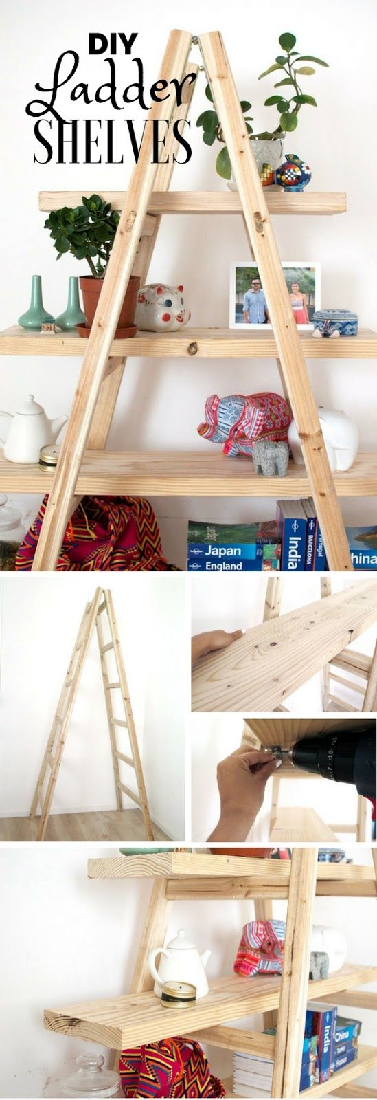 Really genius home hacks that you can do just like this gorgeous DIY Ladder Shelves