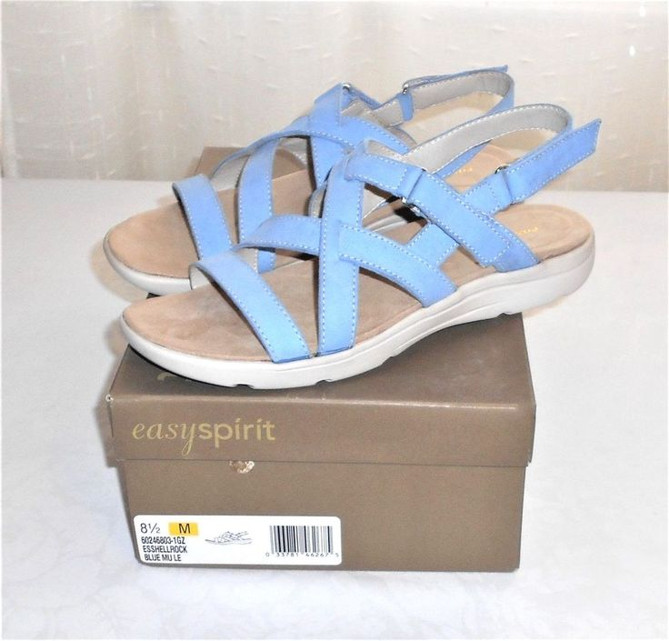 Easy Spirit ShellRock Blue Sling Back Adjustable Strap Sandal Women's US 8.5 M #EasySpirit #SlingbackStrapSandal