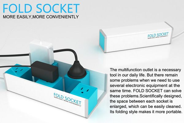Fold Socket - Multitap by Qi Qiu, Shang Zhi & Surong Sun - The Fold Socket is a power strip that can accommodate different configurations of plugs and place them with ease.   Yanko Design