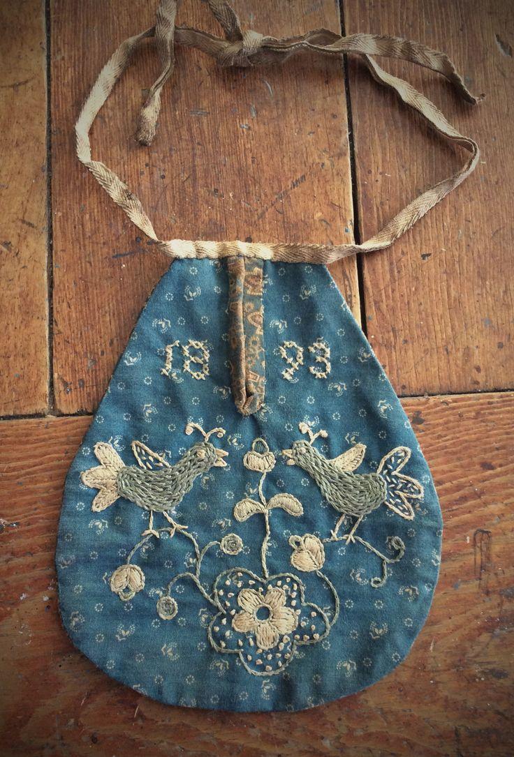 """Child's Sewing Pocket 7 1/2"""" Long, 6 1/8"""" W (at widest point) - Naively stitched"""