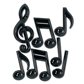 "Music Decorations Spice up the Party! The musical note decorations are the perfect addition to your rock and roll party decorating. No matter what your event these music note decorations will be sure to make it a hit. Seven music note decorations per package. Approximately 13"" - 22"" long. Made of plastic. 3-Dimensional decorations. Made in the USA. Music decorations like these are perfect for school dances, Elvis or Blues Brothers parties and any ""rock and roll"" event."