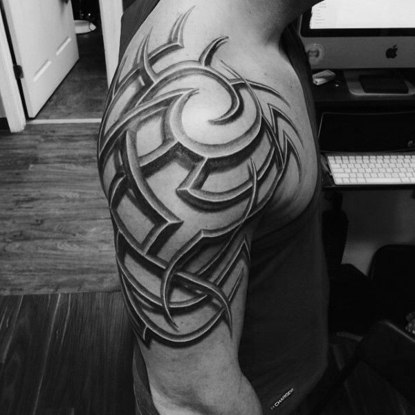 3d Male Tribal Shoulder Tattoos