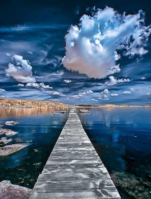 Kristevik - Vastra Gotland, Sweden, old wooden bridge, water, clouds, boats, beauty of Nature, reflection, photo