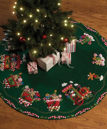 Take a look at this Candy Express Tree Skirt Embroidery Kit by Bucilla on #zulily today!