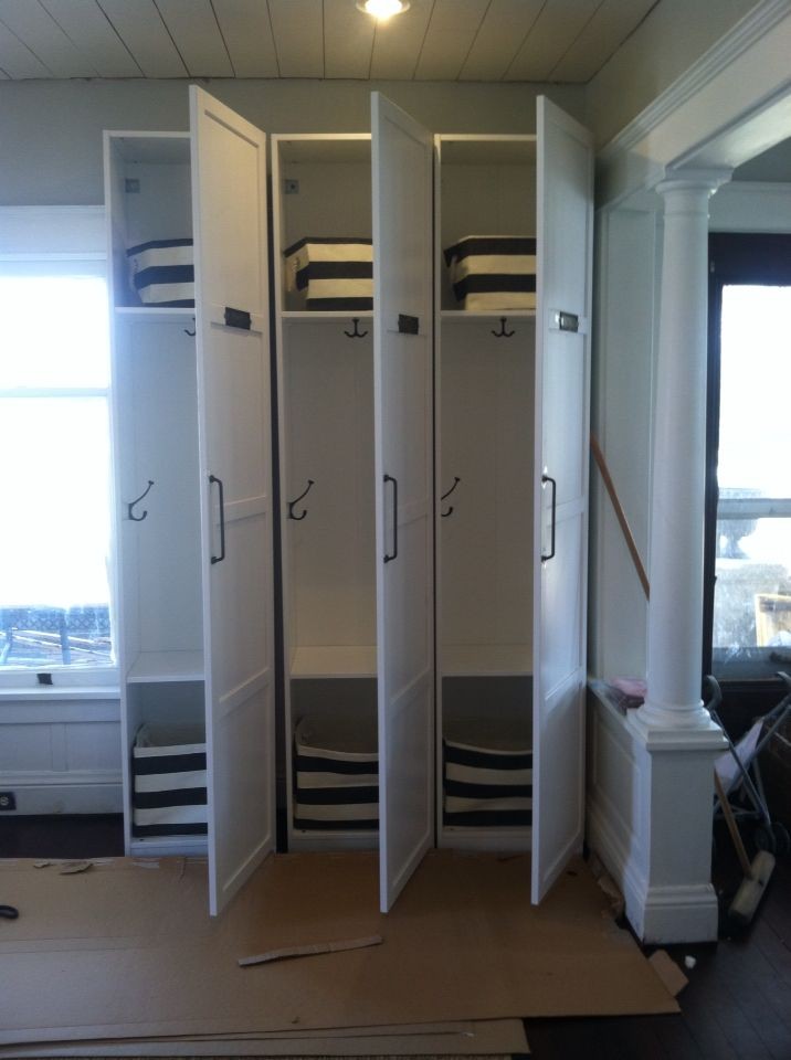 Mudroom Lockers Made From 4 Ikea Pax Wardrobe Units 2