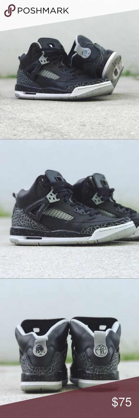 Jordan Spizike GS – Black/Cool Grey This Jordan Spizike GS size 4.5Y (Women 6) features a very dope colorway; a colorway adult Spizike lovers will definitely want.  Worn a couple times so it does have MINIMAL wear. They are a 9 out of 10. These shoes do not come with original box. Jordan Shoes Sneakers