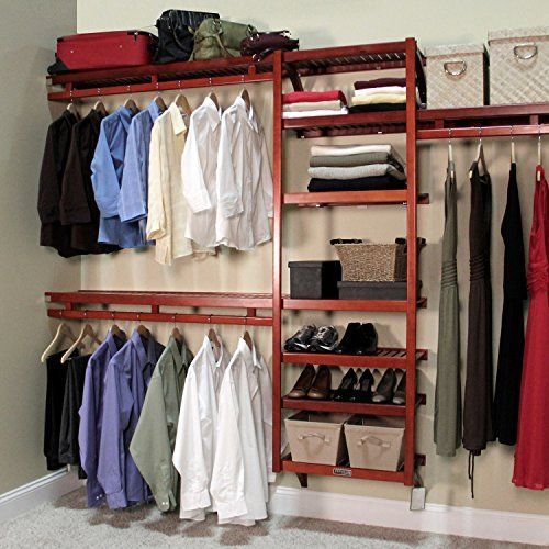 click to enlarge john louis home standard closet shelving system red mahogany this is a