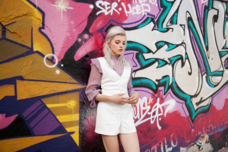 White tie detail playsuit and lilac frilled blouse by Glamorous