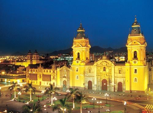 The famous cathedral rebuilt several times since the 16th century.  Houses the remains of Conquistador Francisco Pizarro