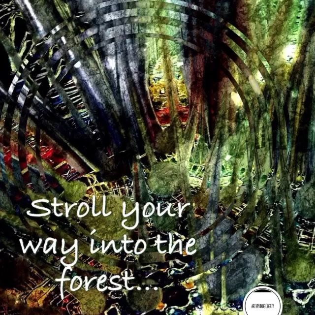 """WHISPERS OF THE FOREST"" artwork with a message series by Diane Liberty  🍃🍃🍃Stroll your way into the forest. It's waiting to embrace you with an invitation to go in deeper And Unearth the answers To your questions Come back to your safe place And listen to the whispers of the forest"